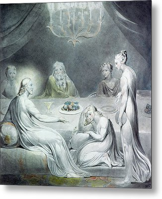 Christ In The House Of Martha And Mary Or The Penitent Magdalene Metal Print by William Blake