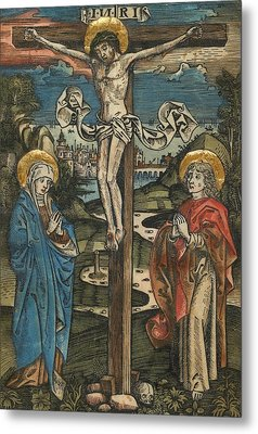Christ On The Cross With Mary And Saint John Metal Print by German School