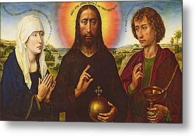 Christ The Redeemer With The Virgin And St. John The Evangelist, Central Panel From The Triptych Metal Print by Rogier van der Weyden