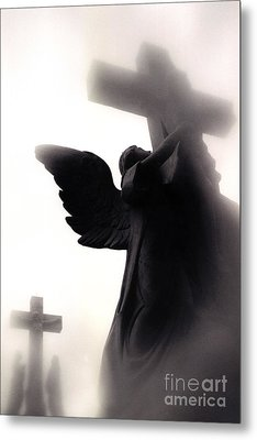 Angel With Jesus On Cross - Christian Art Cross - Spiritual Angel On Cross  Metal Print by Kathy Fornal