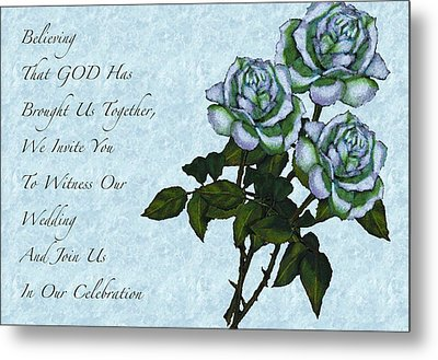 Christian Wedding Invitation With Roses Metal Print by Joyce Geleynse