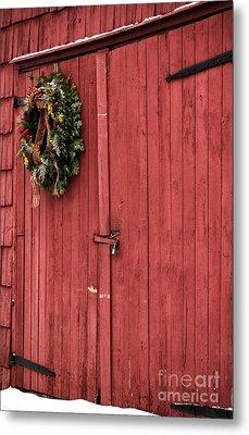 Christmas Barn Metal Print by John Rizzuto