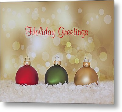 Christmas Baubles Metal Print by Kim Hojnacki