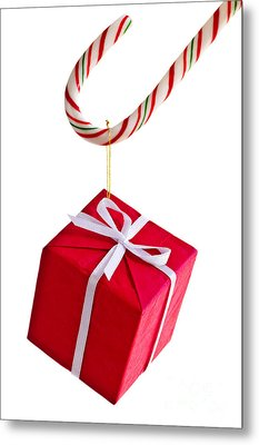 Christmas Candy Cane And Present Metal Print by Elena Elisseeva