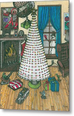 Christmas Card Drawing Metal Print by Richie Montgomery