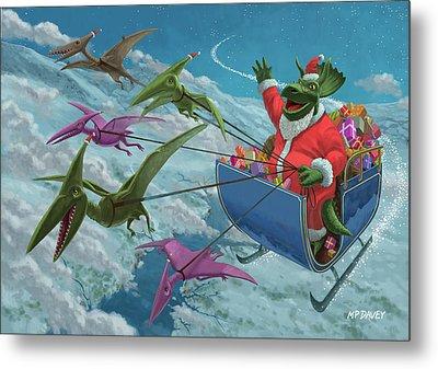 Christmas Dinosaur Santa Ride Metal Print by Martin Davey