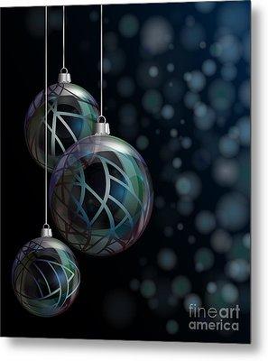 Christmas Elegant Glass Baubles Metal Print by Jane Rix