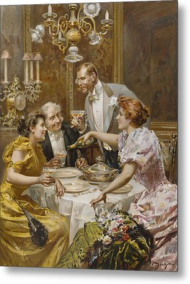 Christmas Eve Dinner In The Private Dining Room Of A Great Restaurant Metal Print by Ludovico Marchetti