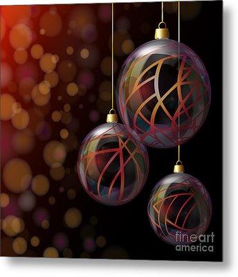 Christmas Glass Baubles Metal Print by Jane Rix