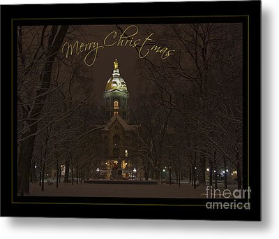 Christmas Greeting Card Notre Dame Golden Dome In Night Sky And Snow Metal Print by John Stephens