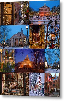 Christmas In Boston Metal Print by Joann Vitali