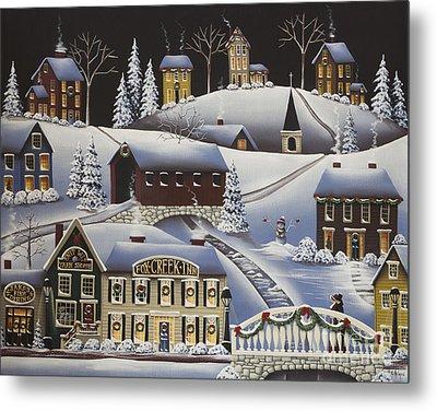 Christmas In Fox Creek Village Metal Print by Catherine Holman