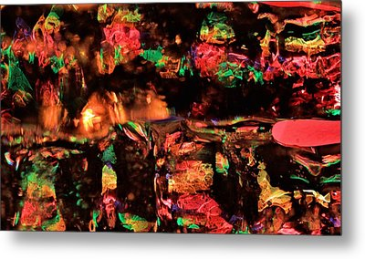 Christmas Lights Through An Icicle Metal Print by Dan Sproul