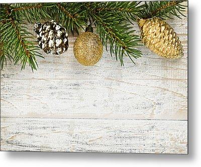 Christmas Ornaments On Fir Branch Metal Print by Elena Elisseeva