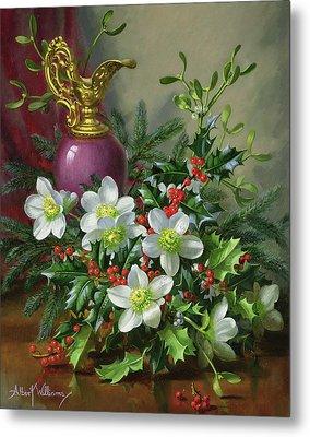 Christmas Roses Metal Print by Albert Williams