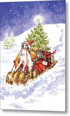 Christmas Sleigh Ride Dog And Cat Metal Print by Caroline Stanko