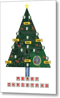 Christmas Tree Motherboard Metal Print by Mary Helmreich
