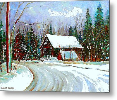 Christmas Trees Cozy Country Cabin Painting Winter Scene Quebec Painting Canadian Art Cspandau Metal Print by Carole Spandau