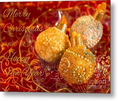 Christmasball Cupcakes Metal Print by Iris Richardson