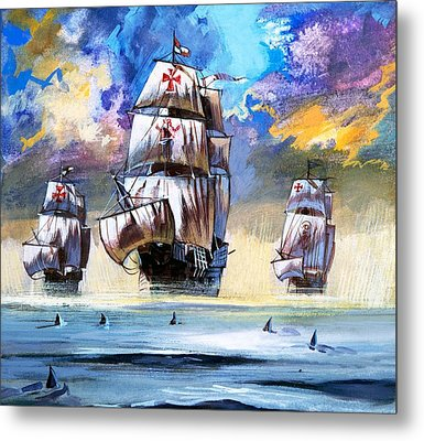 Christopher Columbus's Fleet  Metal Print by English School