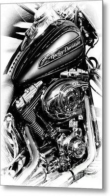 Chromed Harley Monochrome Metal Print by Tim Gainey