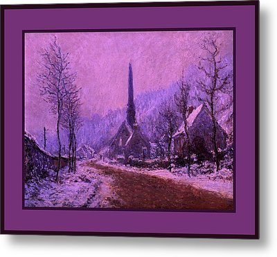 Church At Jeufosse Snowy Weather Enhanced Triple Border Metal Print by Claude Monet - L Brown