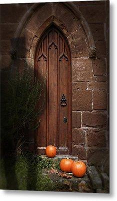 Church Door At Halloween Metal Print by Amanda Elwell