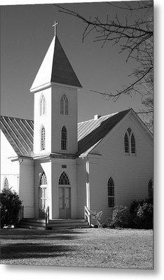 Church In Black And White Metal Print by Carolyn Ricks