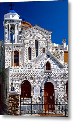Church Of Geometric Pattern Metal Print by Aiolos Greek Collections