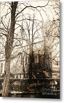 Church On Canal In Brugge Belgium Metal Print by PainterArtist FINs husband Maestro