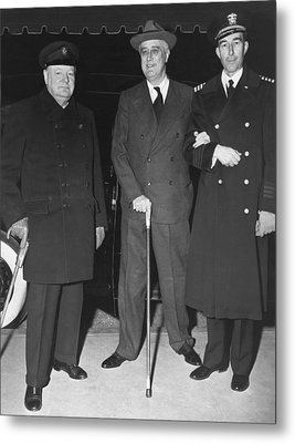 Churchill And Roosevelt Metal Print by Underwood Archives