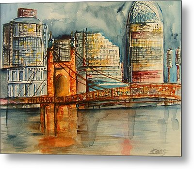 Cincinnati At Dusk Metal Print by Elaine Duras