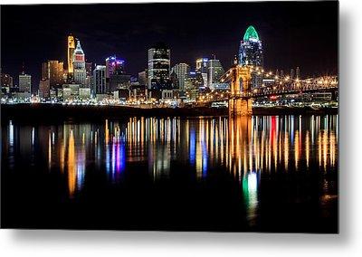Cincinnati Skyline In Christmas Colors Metal Print by Keith Allen