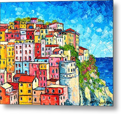Cinque Terre Italy Manarola Colorful Houses  Metal Print by Ana Maria Edulescu