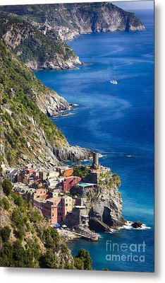Cinque Terre Towns On The Cliffs Metal Print by George Oze