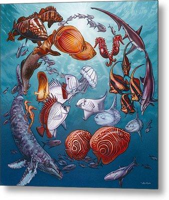 Circle Of Ocean Life Metal Print by Larry Taugher