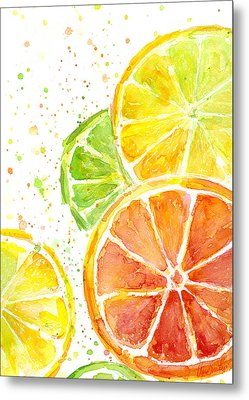 Citrus Fruit Watercolor Metal Print by Olga Shvartsur