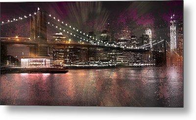 City-art Brooklyn Bridge Metal Print by Melanie Viola