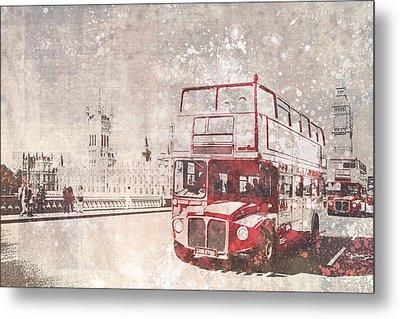 City-art London Red Buses II Metal Print by Melanie Viola