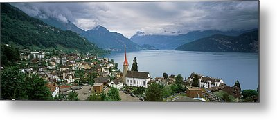 City At The Lakeside, Lake Lucerne Metal Print by Panoramic Images