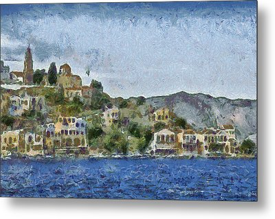 City By The Sea Metal Print by Ayse Deniz