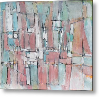 City In Peach And Turquoise Metal Print by Hari Thomas