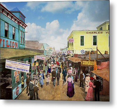 City - Ny - The Bowery 1900 Metal Print by Mike Savad
