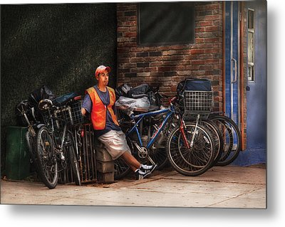 City - Ny - Waiting For The Next Delivery Metal Print by Mike Savad