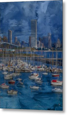 City Of Milwaukee Along Lake Michigan Metal Print by Jack Zulli