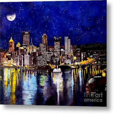 City Of Pittsburgh At The Point Metal Print by Christopher Shellhammer