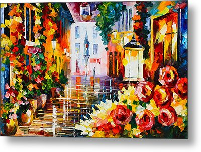 City Of Roses Metal Print by Leonid Afremov