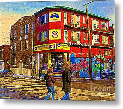 City Paint Benjamin Moore Rue Rachel And Hotel And De Ville Montreals Oldest Paint Store  C Spandau  Metal Print by Carole Spandau