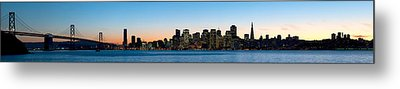 City Skyline And A Bridge At Dusk, Bay Metal Print by Panoramic Images