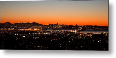 City View At Dusk, Oakland, San Metal Print by Panoramic Images